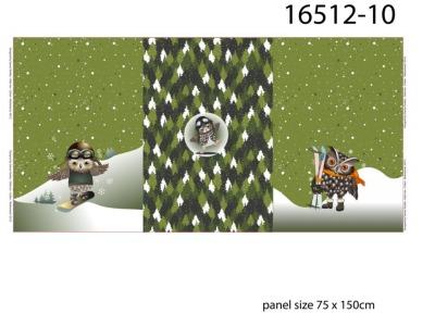 Panel Sweat Eule Schneeeule teilig grün