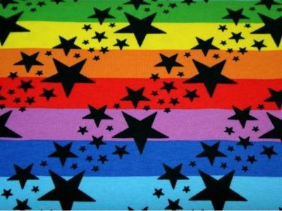 05m Jersey Blockstreifen mit Sternenschauer bunt