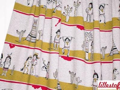05m Lillestoff Jersey Indianerleben Indianer grau