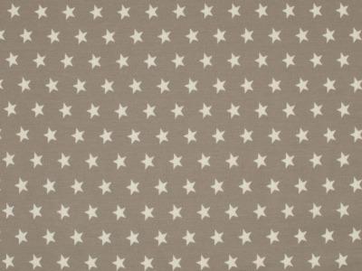 05m Jersey Kleine Sterne taupe weiß