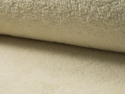 0 5m Baumwoll Teddy Pluesch creme weiss natur weich