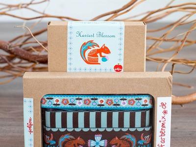 Webband Set Harvest Blossom Braun Mint Borten