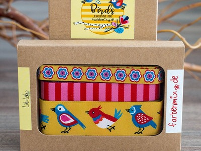Webband Set Birds Gelb Lila-Lotta