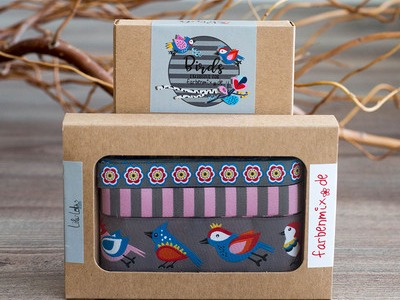 1Set Webband Birds Grau by Lila-Lotta