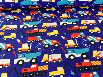 05m Jersey Baustellenfahrzeuge blau bunt