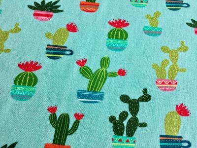 0,5m Jersey Kaktus mint Türkis bunt
