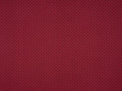 0,5m Jersey Mini Punkte schwarz weinrot dunkelrot