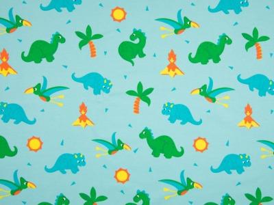 0,5m Jersey Dino Babys türkis gelb grün