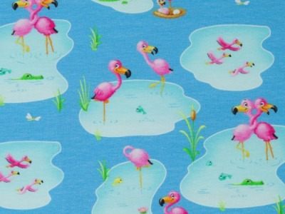 05m Jersey Flamingos türkis aqua pink