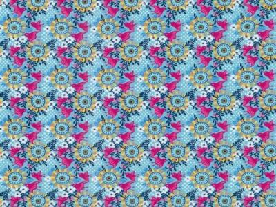 05m Jersey Blumen Vögel türkis magenta