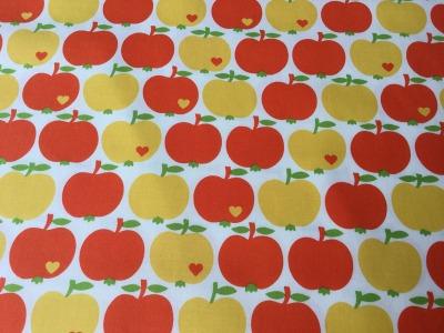 05m beschichtete Baumwolle gelb orange Äpfel