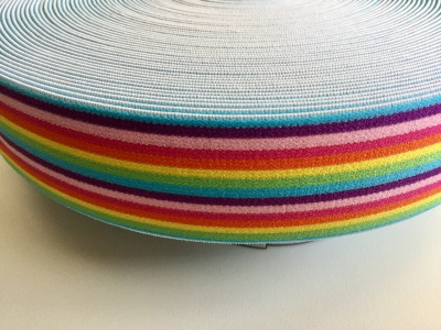 1m Gummiband 4cm Regenbogen Ringel bunt