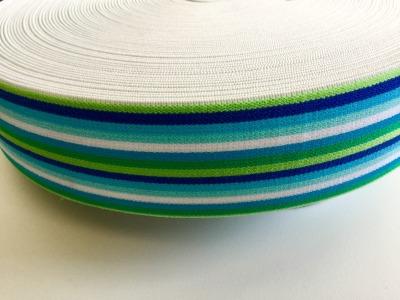 1m Gummiband 4cm Grün blau weiß Ringel jungs