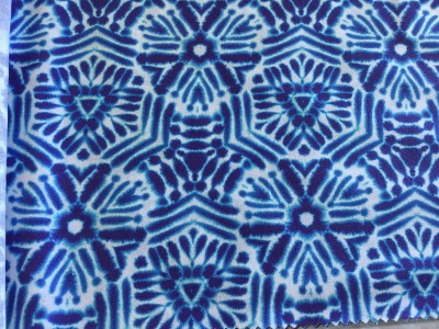 0,5m Baumwolle Shibori Batik Tonbo Indigo weiß