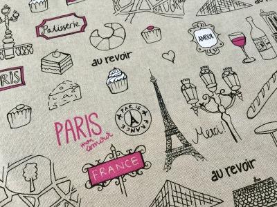05m Canvas Taschenstoff Deko Leinen Paris
