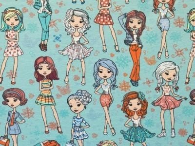 Jersey Mädchen Fashion Girls mint bunt