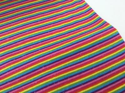0,5m Ringel Bündchen glatt Regenbogen Glitzer bunt