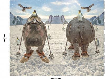 Panel Jersey Nilpferd Schnee Digitaldruck