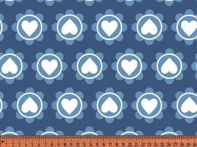 0,5m Jersey Retro Heart jeans blau blue