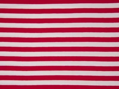 0,5m Ringel Jersey Streifen rot weiß 10mm Püdile