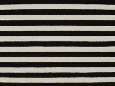 0,5m Ringel Jersey Streifen schwarz weiß 10mm