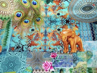 0 5m Canvas Taschenstoff Elefant Pfau tuerkis gold