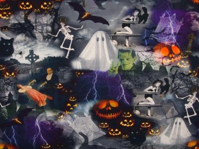 0,5m Jersey Digitaldruck Halloween Grusel Gespenst