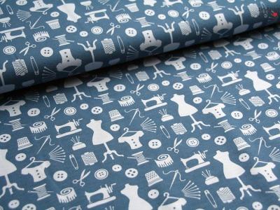 0,5m Lillestoff Jersey Pin Up Nähmaschine Sew blau