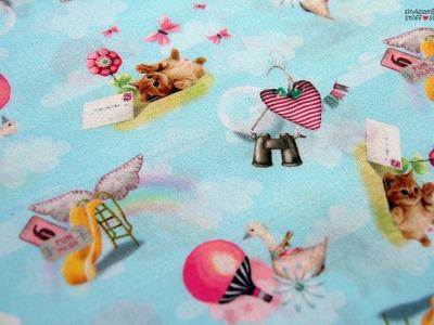 Baumwolle hellblau Baby Kind Katze Spielen
