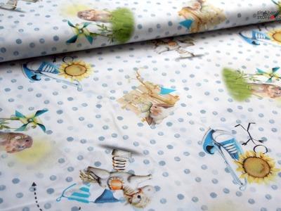 0,5 m Baumwolle weiß bunt Baby Kind Hase Spielen