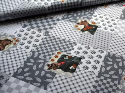 Baumwolle Wolf Karo Patch Efteling grau