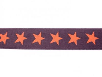 1m breites Gummiband Sterne 4cm braun orange
