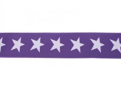 1m breites Gummiband Sterne 4cm lila