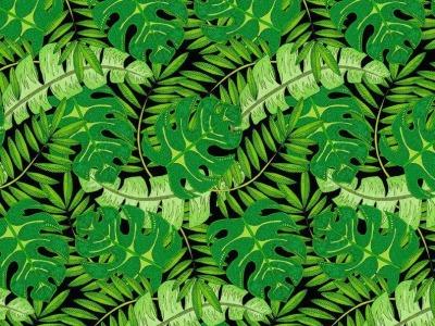 025m Baumwolle Wilmington Tropical Flair Palmenblätter
