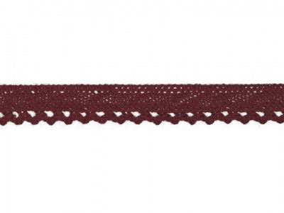 1m Baumwollspitze Häkelspitze 10mm breit bordeaux