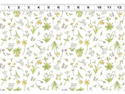 05m BW Patchworkstoff Frühlingswiese weiß bunt