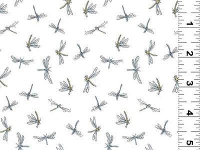025m Baumwolle Leap Frog Libellen weiß