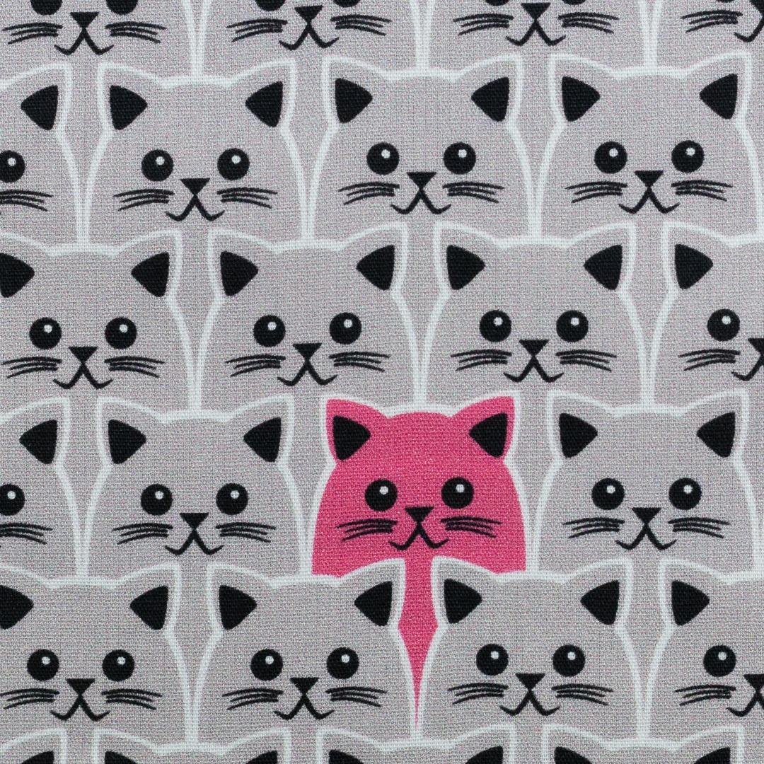 Baumwolle 990EUR/m beige Katze rosa Meterware