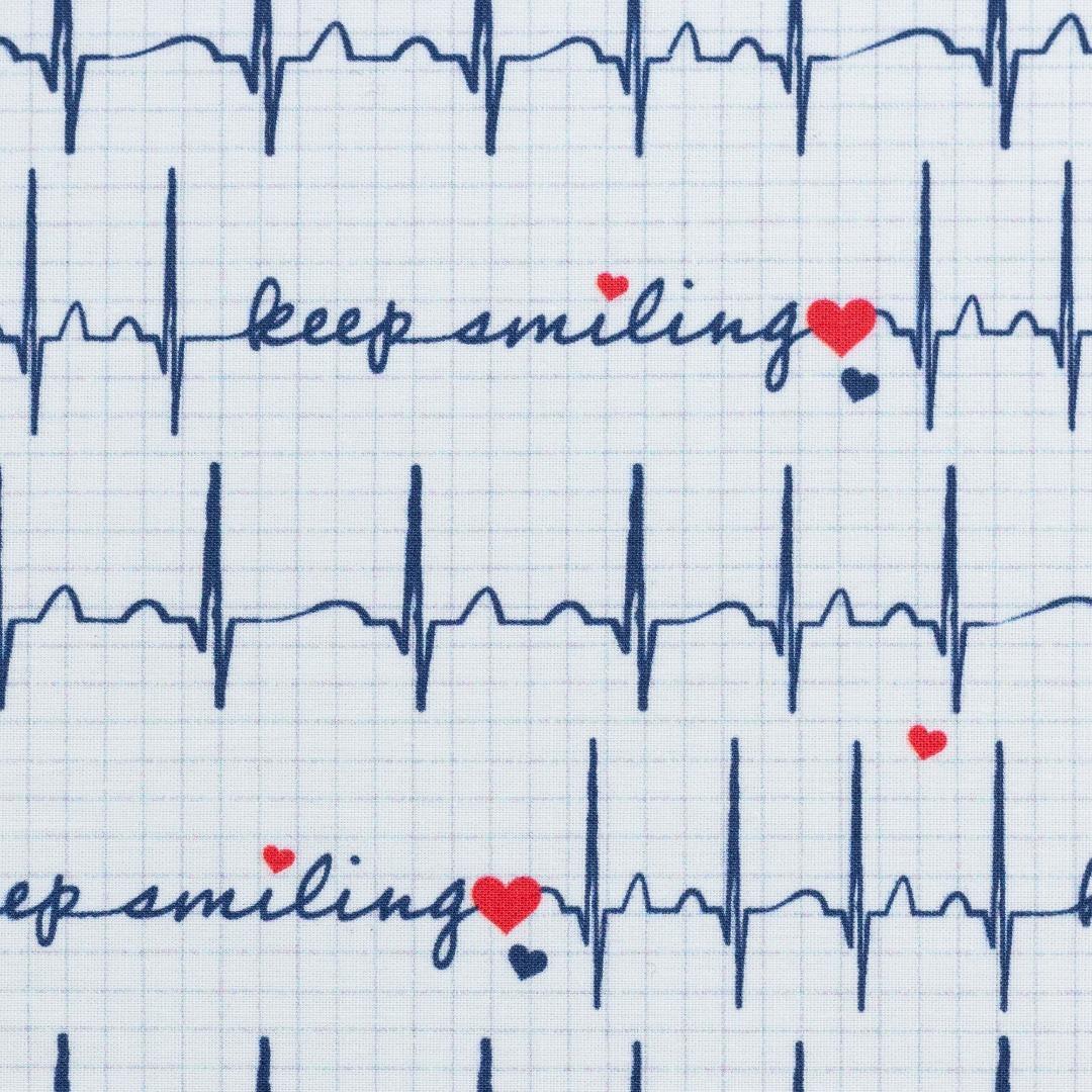 Baumwolle EKG Herzlinie Toni weiß 2