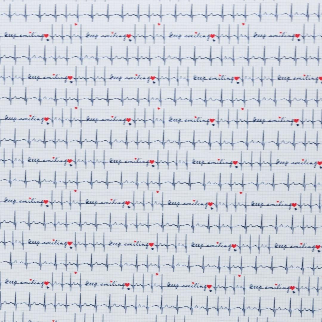 Baumwolle EKG Herzlinie Toni weiß 3