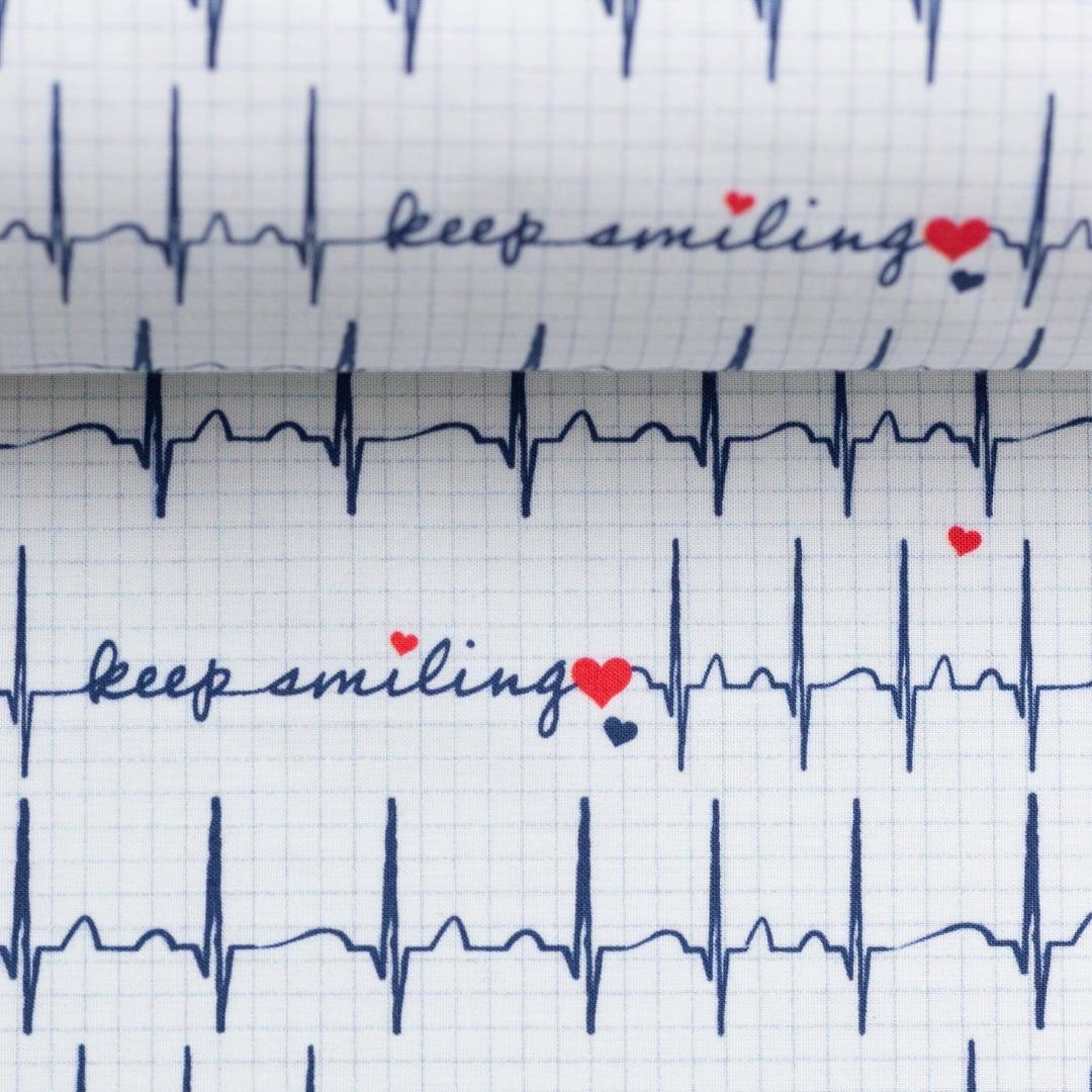 Baumwolle EKG Herzlinie Toni weiß