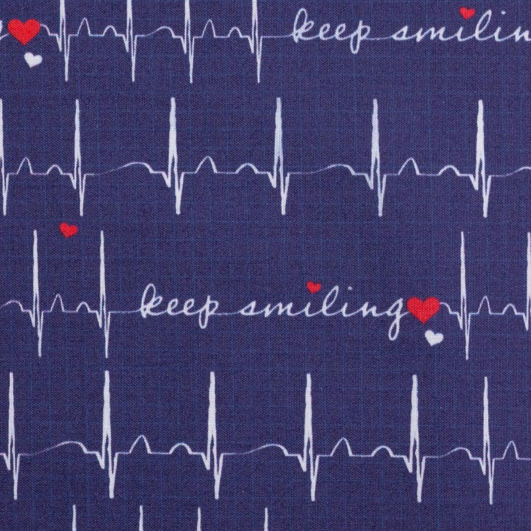 Baumwolle EKG Herzlinie Toni dunkelblau 2