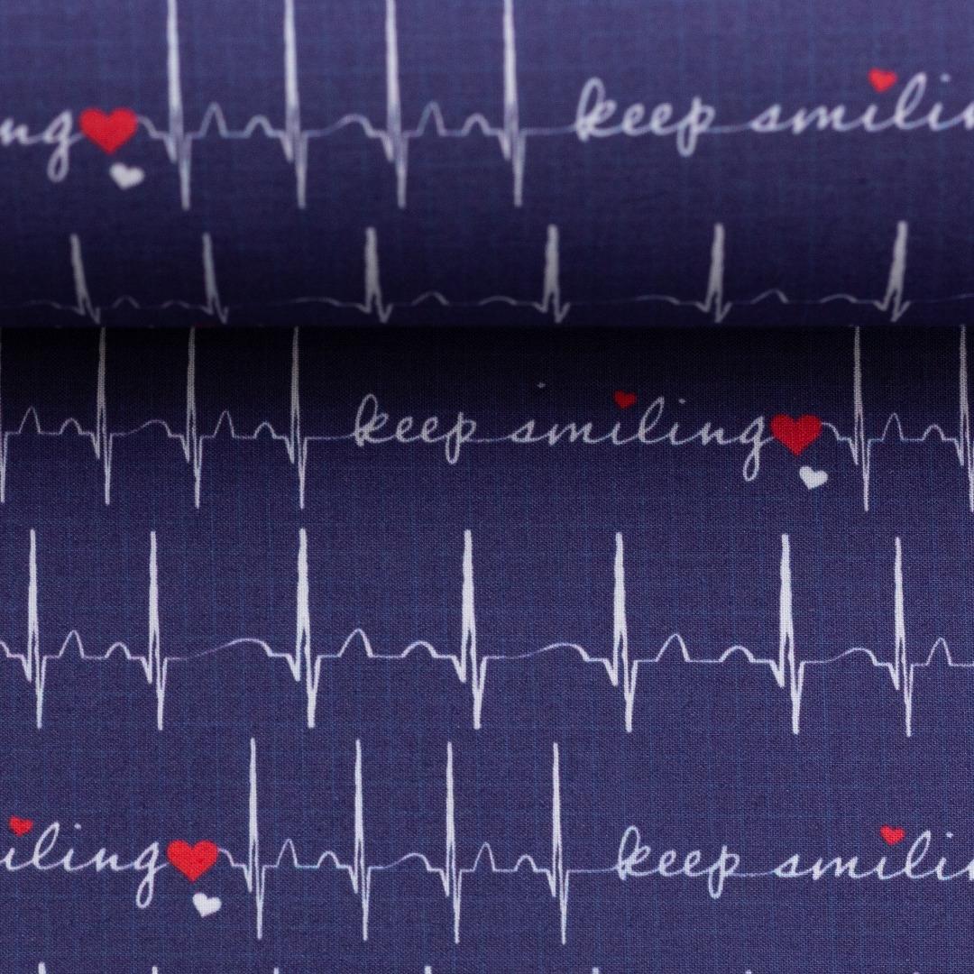 Baumwolle EKG Herzlinie Toni dunkelblau