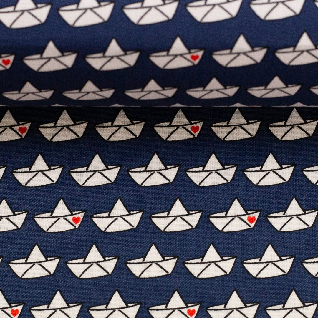 Baumwollstoff Loveboat by Cherry Picking blau