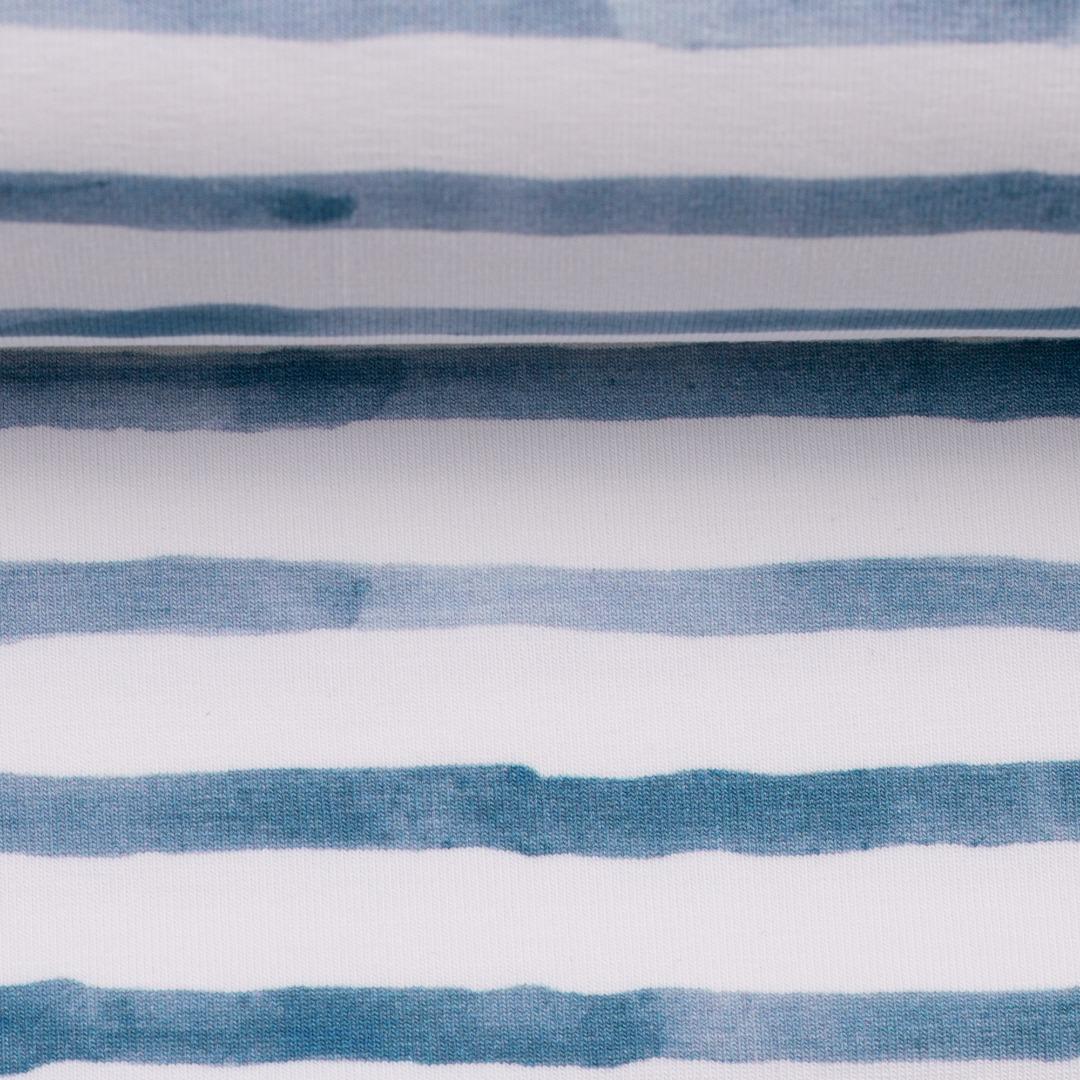 Streifenjersey Ringel maritim jeansblau weiß blau