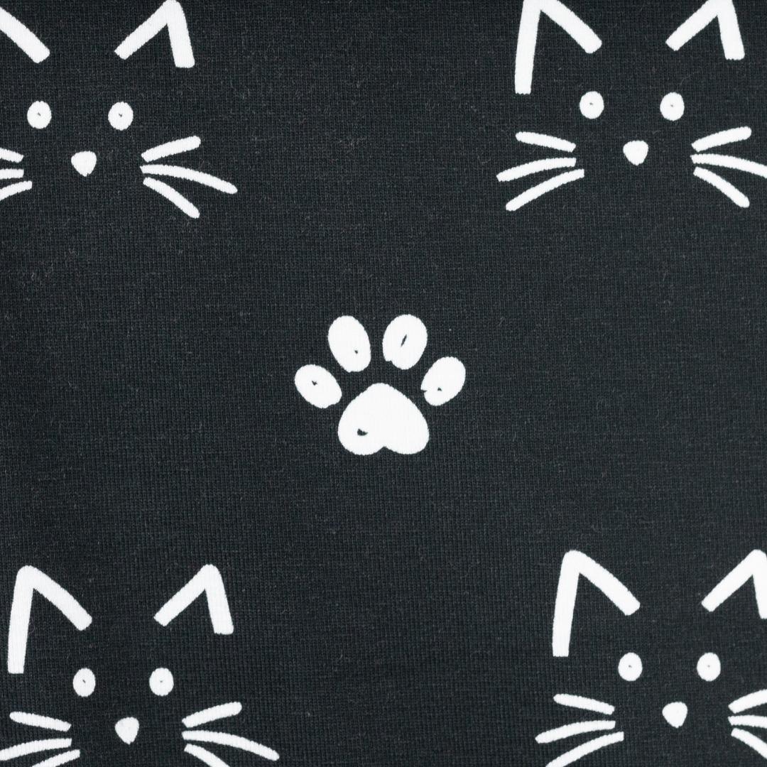 Jersey Katzen weiß auf schwarz Stoffe