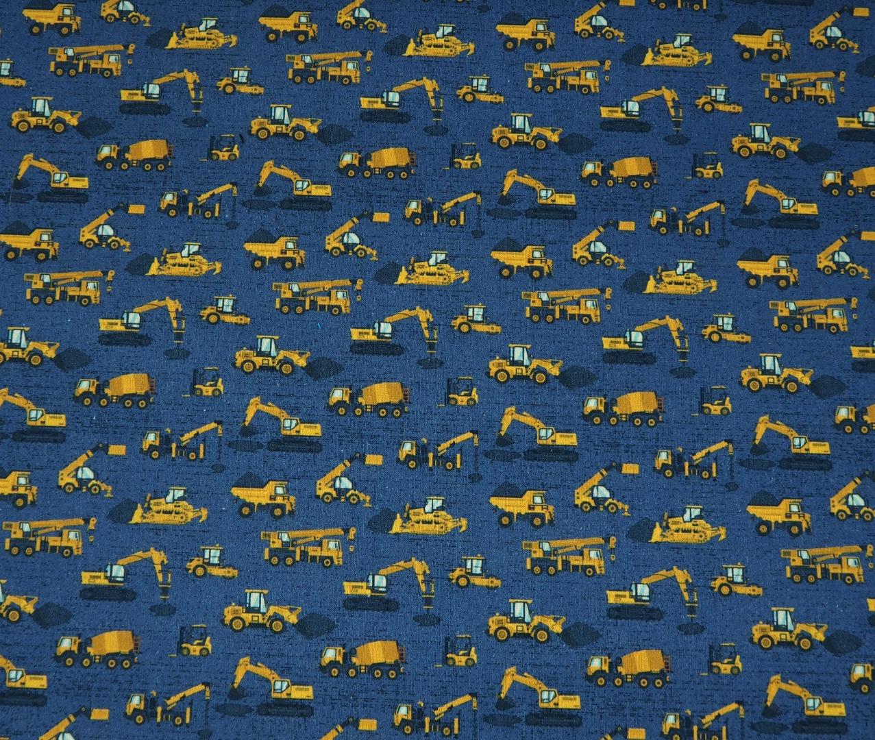 Baumwolle Baufahrzeuge auf blau
