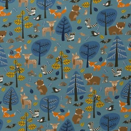 Jersey Woody 1650EUR/m jeansblau Waldtiere Wald