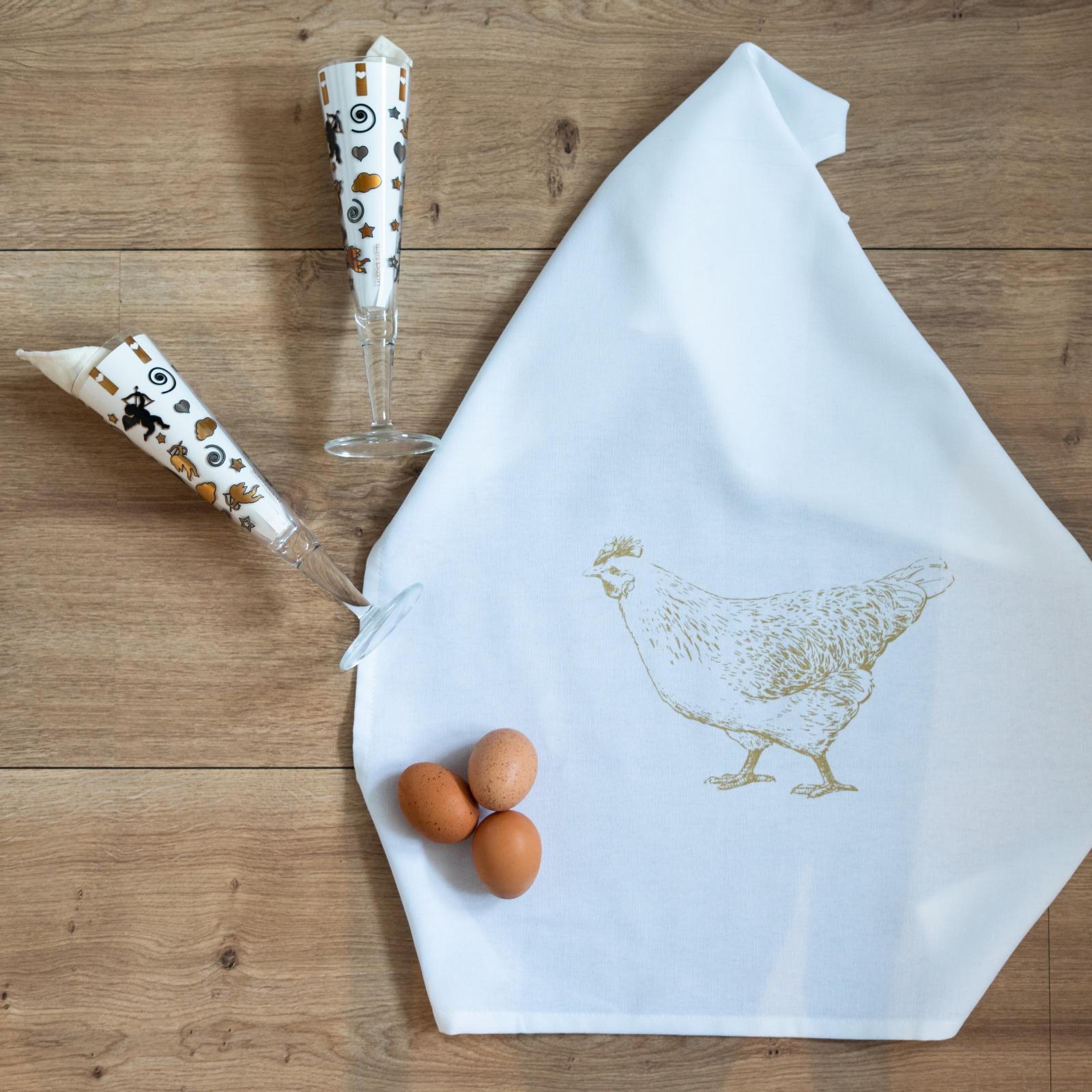 Geschirrtuch weiß Huhn gold