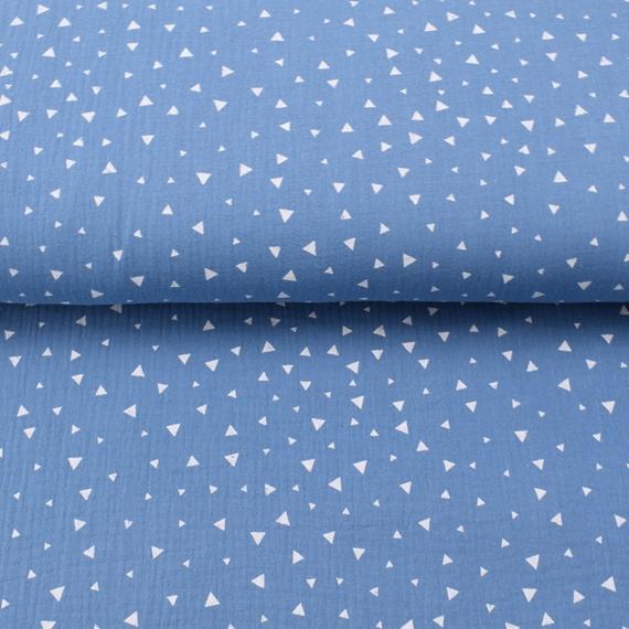 Musselin jeansblau mit kleinen weißen Dreiecken